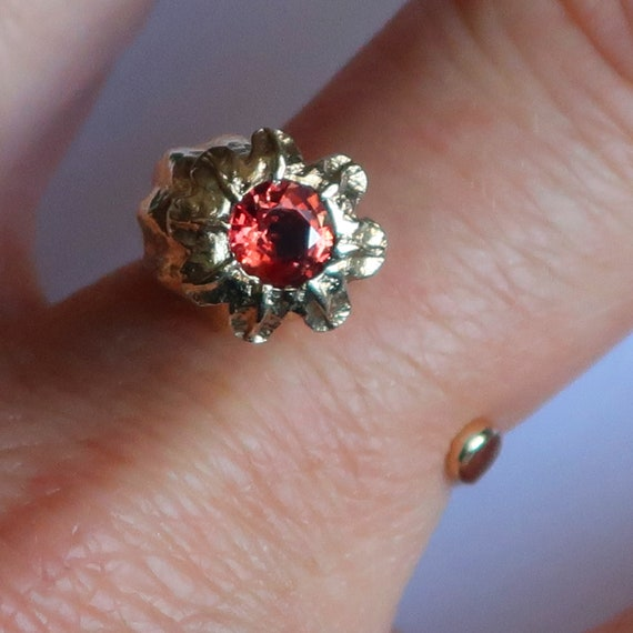 Gold and Red Tourmaline Poppy Statement Ring-One of a Kind-Ready to Ship