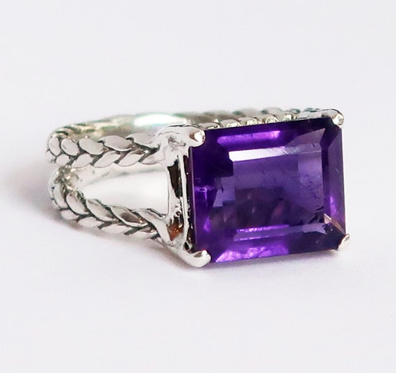 "Sterling Silver and Antique Purple Amethyst ""Gail Ring""-US size 6-Ready to Ship"