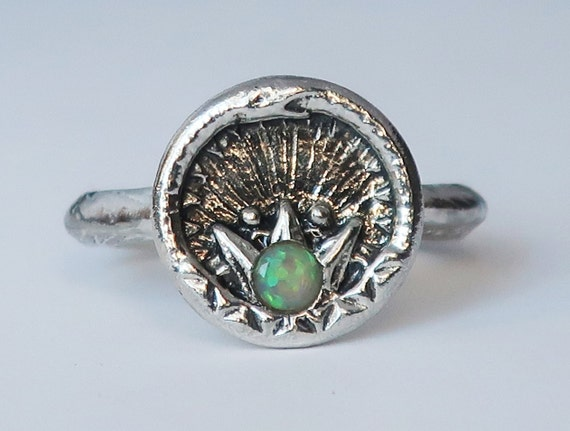 Sterling Silver and Ethiopian Opal Ouroboros Snake, Antique Parisian Button Ring-size 6.5-Ready to Ship