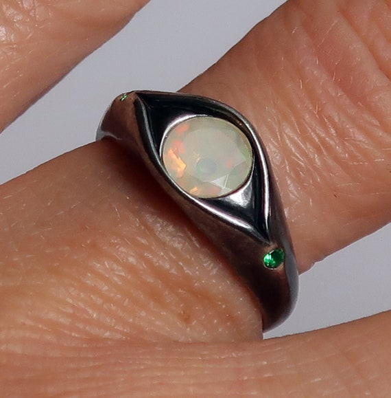 Blackened Sterling Silver, Ethiopian Opal and Green Spinel Eye Ring-Ready to Ship