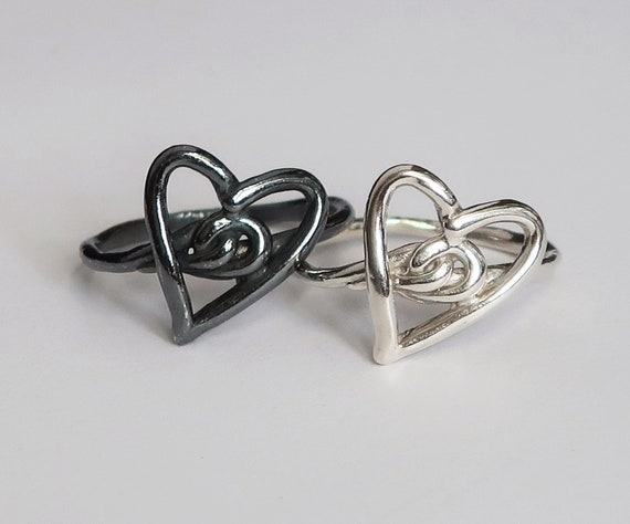 Silver Heart Knot Rings