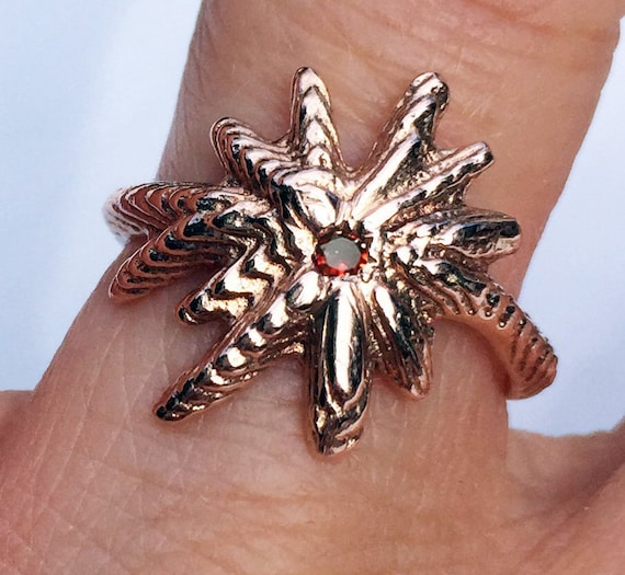 Payment 1 for Cia-Rose Gold and Red Cognac Diamond Starburst Ring