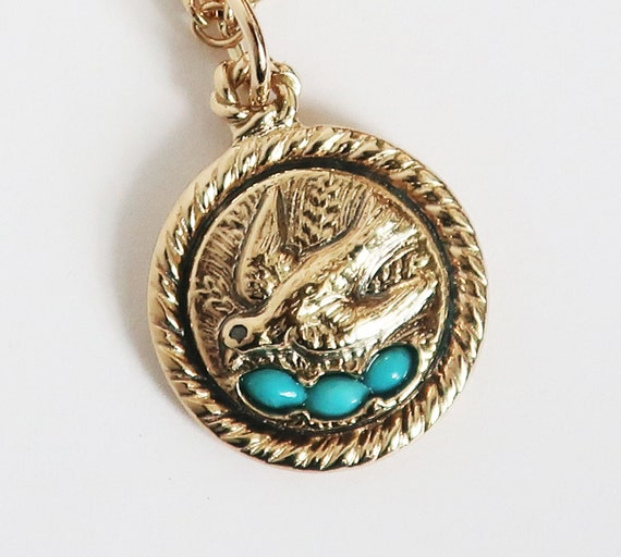Yellow Gold & Turquoise Spring Robin with Eggs -Ready to Ship