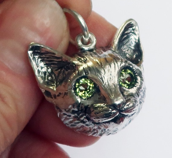 NEW!!! Large Sterling Silver Cat Charm with Green Peridot Eyes