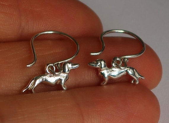 Sterling Silver Tiny Dachshund Earrings
