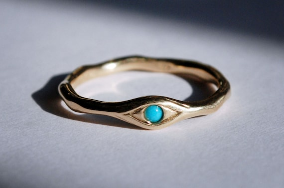 10k Gold and Persian Turquoise Eye Ring