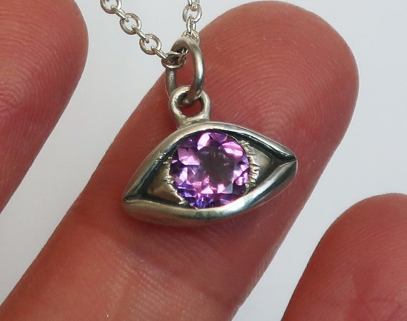 Large Sterling Silver Purple Amethyst Eye Charm, February Birthday-Ready to Ship