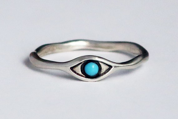 Sterling Silver and Turquoise Eye Ring-Ready to Ship