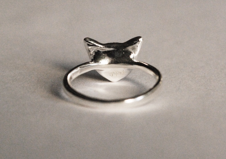 Sterling Silver Kitty Cat Ring with Jeweled Eyes-multiple gemstone options