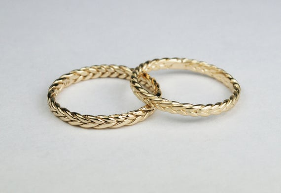 Solid 10k Yellow Gold Thin Braid Ring