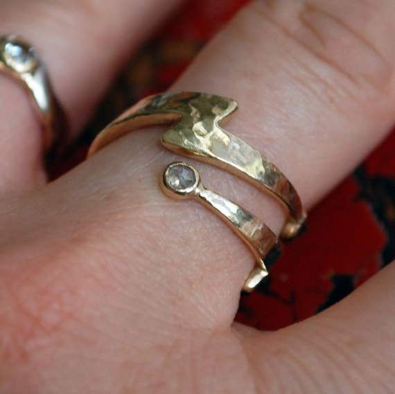 Gold Diamond Lightning Bolt  Wrap Ring