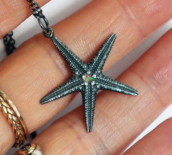 Sterling Silver and Opal Starfish Necklace-Ready to Ship