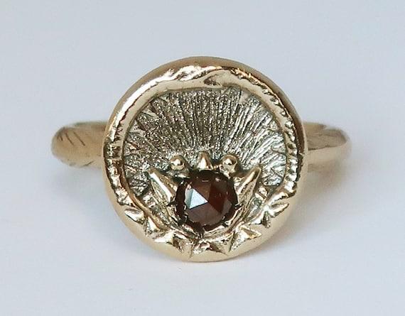 Yellow Gold and Red Diamond Ouroboros Snake, Antique Parisian Button Ring-size 5.5-Ready to Ship