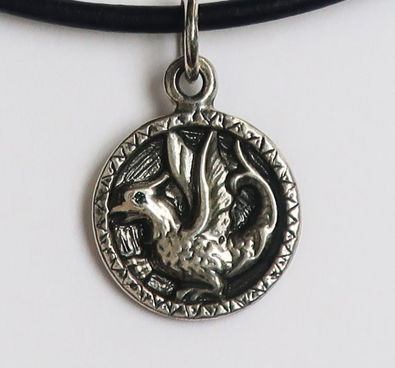 Sterling Silver & Genuine Blue Diamond Baby Dragon Necklace-Ready To Ship
