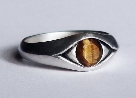 Large Sterling Silver and Faceted Tiger's Eye, Eye Ring-Ready to Ship