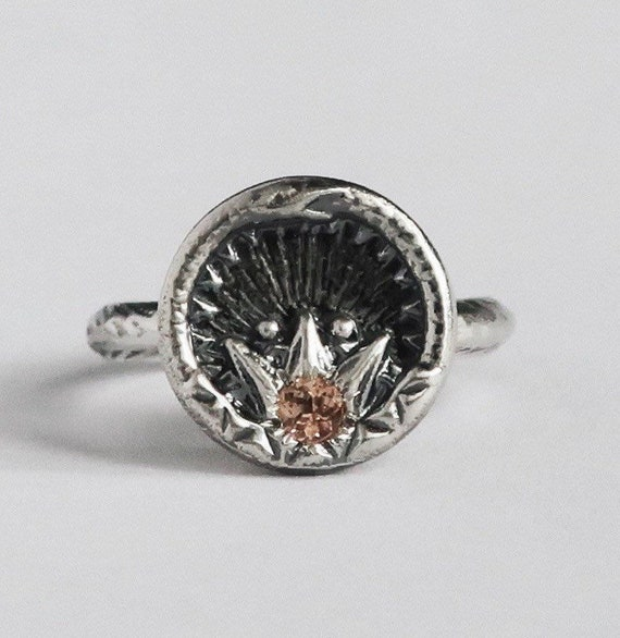 Sterling Silver with Imperial Topaz ,Ouroboros Snake, Antique Parisian Button Ring- US size 5 -Ready to Ship