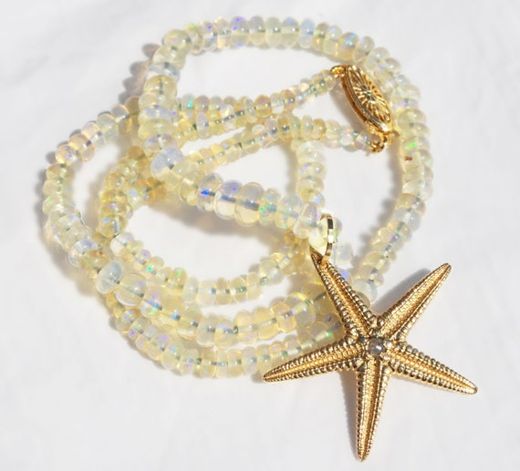 Large Solid Gold, Diamond and Ethiopian Opal Starfish Necklace
