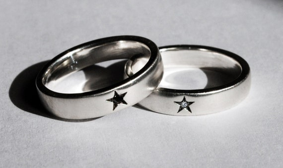 Little Star Rings -Sterling Silver with Black or White Diamond
