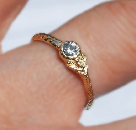 Solid Yellow Gold & White Sapphire Tiny Flower Ring, Size 7.25-Ready to ship.