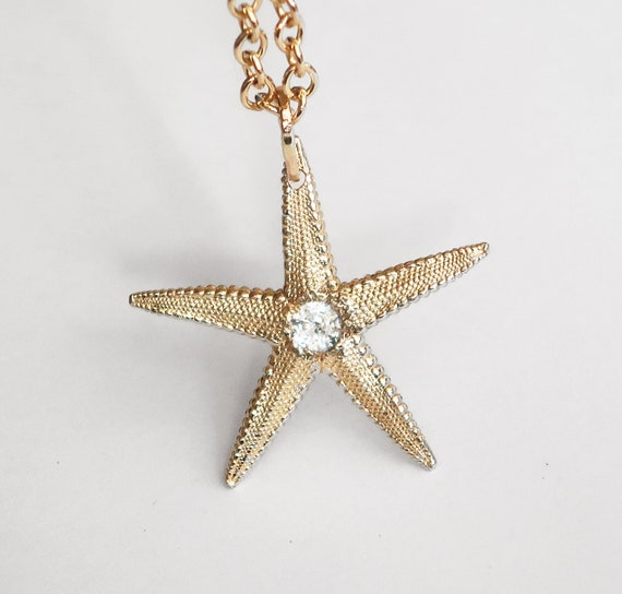 Solid 10k Yellow Gold Starfish Charm with Faceted White Topaz Center-Ready to Ship