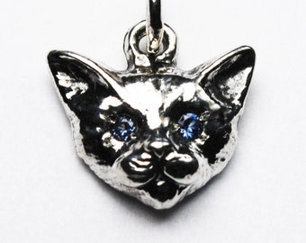 Small Sterling Silver Kitty Cat Charm with Jeweled Eyes-multiple gemstone options