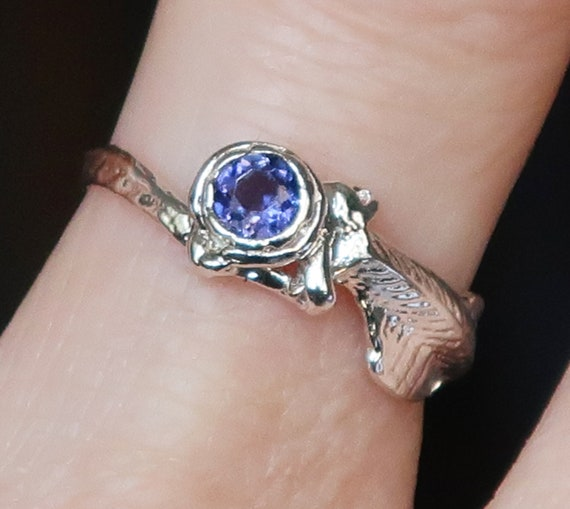 Sterling Silver and Iolite Cuttlefish Cast Fin Ring, US Size 6.5