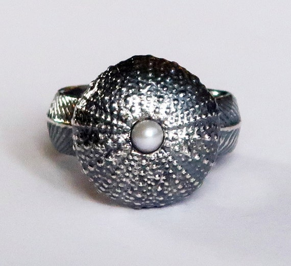 Blackened Sterling Silver and Pearl Large Cushion Sea Urchin Ring, size 7.75-Ready to Ship