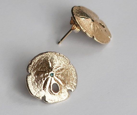 Solid Gold & Blue Diamond Tiny Sand Dollar Earrings