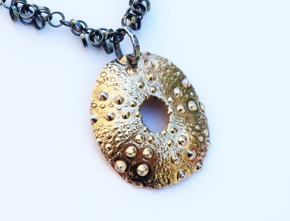 Large Gold and Black Sterling Silver Sea Urchin Necklace