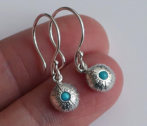 Sterling Silver and Turquoise Tiny Cushion Sea Urchin Dangly Earrings