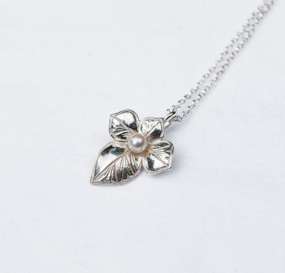 Sterling Silver and Cultured Pearl Leaf Necklace