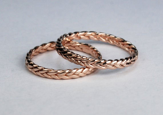 Solid 10k Rose Gold Thin Braid Stacking Ring