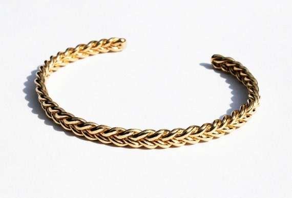 Solid 10k Yellow Gold Braid Bracelet