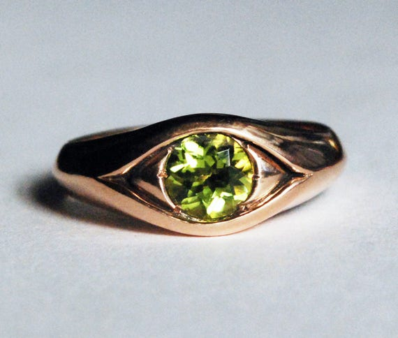 Large 14k Rose Gold Jeweled Eye Ring