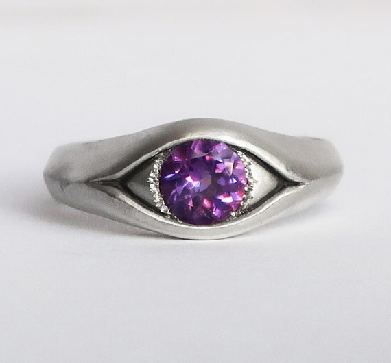 Large Sterling Silver and Amethyst Eye Ring, US Size 8-Ready to Ship