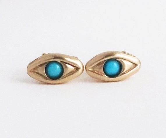 Solid 10k Gold with Persian Turquoise Evil Eye Stud Earrings-Ready to Ship