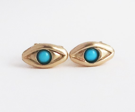 Solid 14k Gold with Persian Turquoise Evil Eye Stud Earrings