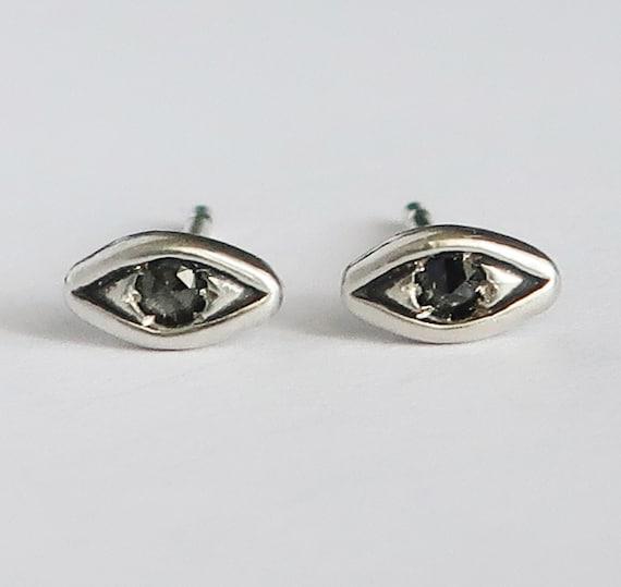Sterling Silver with Black Diamond Evil Eye Stud Earrings