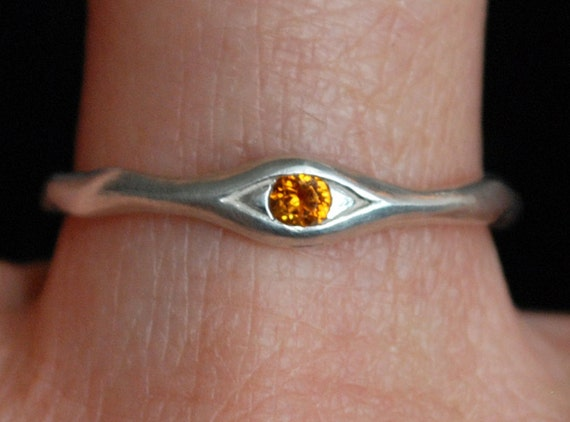 Silver and Citrine Eye Ring