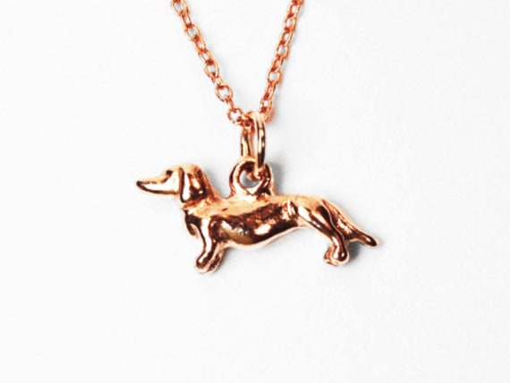 CUSTOM for Laura-Solid Gold Tiny Dachshund Necklace