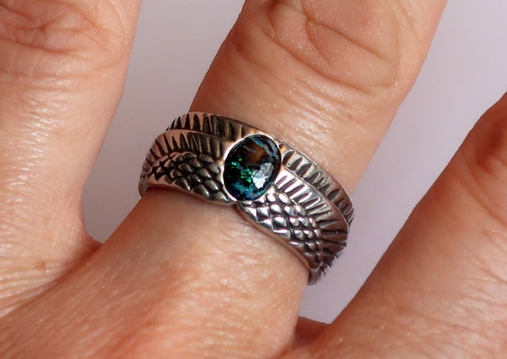 Sterling Silver and Matrix Opal Winged Egg Ring-Ready to Ship