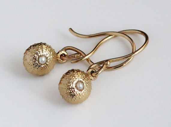 Solid 10k Gold and Pearl Tiny Cushion Sea Urchin Dangly Earrings-Ready to Ship