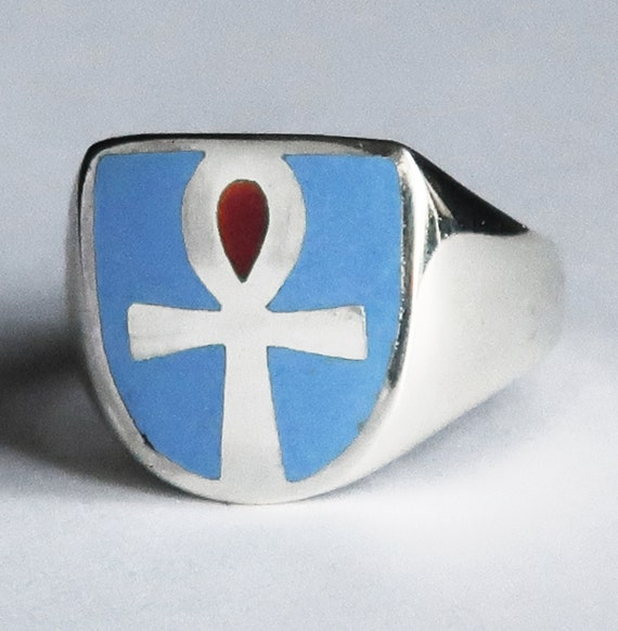 Sterling Silver, Blue and Red Glass Enameled Ankh Ring, Limited Edition, Ready to Ship, US Size 7.25