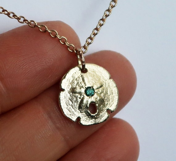 Gold & Blue Diamond Sand Dollar Necklace-Ready to Ship