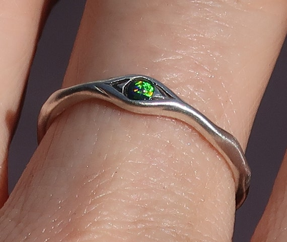 Sterling Silver and Black Opal Eye Ring