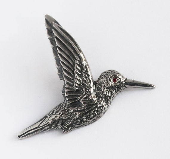 Oxidized Sterling Silver & Ruby Hummingbird Pendant -READY TO SHIP