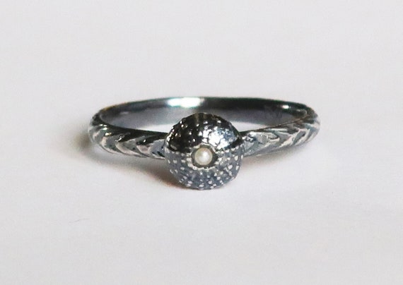 Blackened Sterling Silver and Pearl Tiny Cushion Sea Urchin Ring, size 7-Ready to Ship