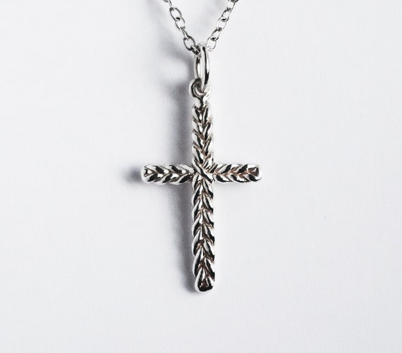 Solid Sterling Silver Thin Braid Cross