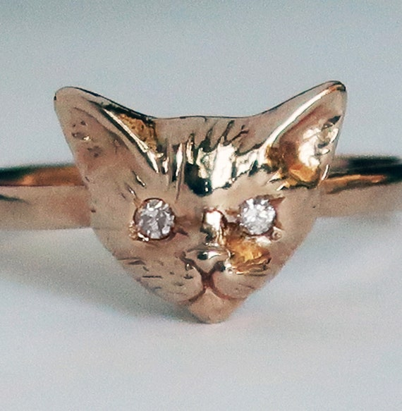 Rose Gold Kitty Cat Ring with White Diamond Eyes