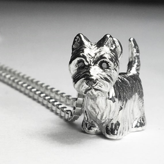 "Sterling Silver West Highland Terrier ""Westie"" Dog Charm with black diamond eyes."